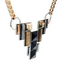French Connection Black Geometric Stone Box Chain Bib Necklace