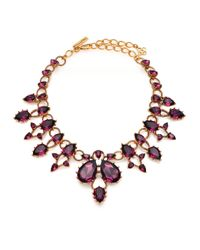 Oscar de la Renta | Metallic Gold-plated Crystal Necklace | Lyst