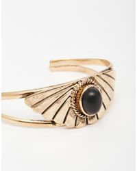 ASOS - Metallic Fan Shaped Open Cuff Bracelet - Lyst