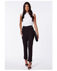 Missguided - Ratka Black High Waisted Cigarette Trousers - Lyst