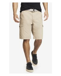Express - Natural 10 Inch Belted Cargo Shorts  for Men - Lyst