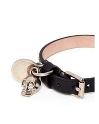 Alexander McQueen | Black Skull Charm Round Stud Leather Bracelet for Men | Lyst