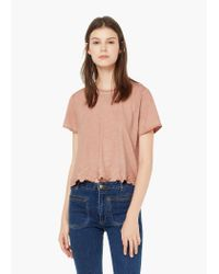 Mango | Pink Embroidered Cotton T-shirt | Lyst