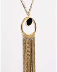 ASOS | Metallic Statement Tassel Long Necklace | Lyst