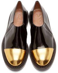 Marni Black And Gold Slip-on Mocasins