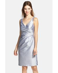 Alfred Sung | Metallic Satin Side Pleat Satin Sheath Dress | Lyst
