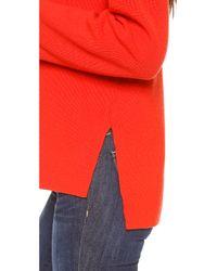 Apiece Apart Uta Side Seam Turtleneck Sweater Ferrari Red