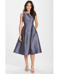 Adrianna Papell Blue Sleeveless Mikado Fit & Flare Midi Dress
