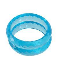 Chamak by Priya Kakkar | Set Of 2 Aqua Blue Ribbed Acrylic Bangles | Lyst