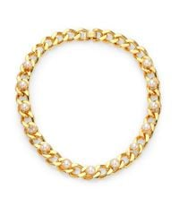 Tory Burch | White Winchel Faux Pearl & Chain Collar Necklace | Lyst