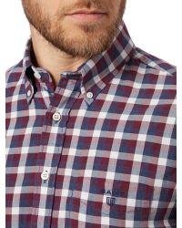 GANT | Red Gingham Twill Shirt for Men | Lyst