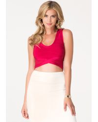 Bebe - Red Bandage V-neck Crop Top - Lyst