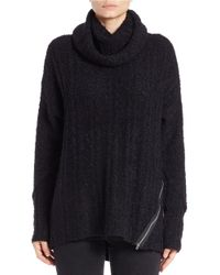 Lord & Taylor Black Zipper-trimmed Cowlneck Sweater