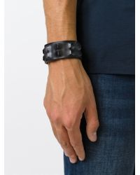 DIESEL - Black 3d Leather Cuff for Men - Lyst