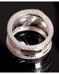 Judith Ripka - Metallic Diamond Pave Crosshatched Wide Band Ring - Lyst