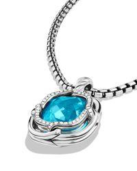David Yurman Metallic Labyrinth Small Pendant With Blue Topaz