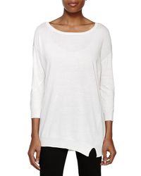 Halston - White 3/4 Sleeve Crewnk Sweater - Lyst