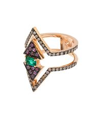 Nikos Koulis | Metallic Diamond, Emerald & Pink-Gold Ring | Lyst