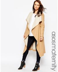 ASOS | Natural Waterfall Coat With Belt | Lyst