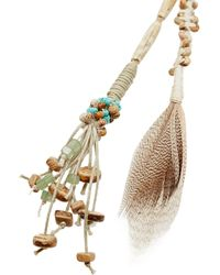 Etro Brown Suede, Feather And Shell Necklace