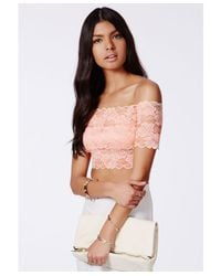 Missguided - Pink Telimesa Nude Bardot Lace Crop Top - Lyst