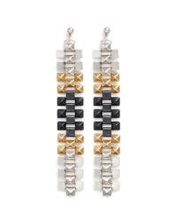 Ela Stone - Metallic 'freja' Pyramid Chain Earrings - Lyst