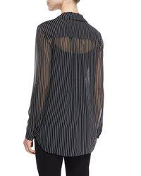 Diane von Furstenberg - Black Lorelei Striped Silk Blouse - Lyst