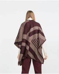 Zara | Purple Geometric Jacquard Poncho | Lyst
