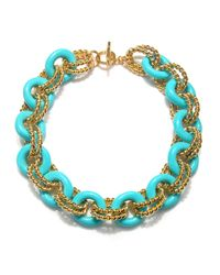 Kenneth Jay Lane | Blue Turquoise Link Necklace | Lyst