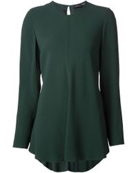 Proenza Schouler | Green Flared Crepe Blouse | Lyst