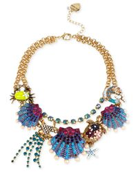 Betsey Johnson - Multicolor Gold-tone Seashell Frontal Necklace - Lyst