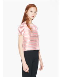 Mango - Red Striped T-shirt - Lyst