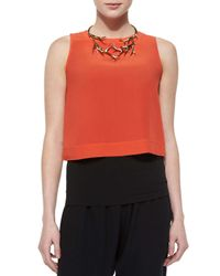 Eileen Fisher - Orange Button-back Silk Crop Shell - Lyst