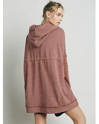 Free People - Red Womens Oversized Zip Hoodie - Lyst