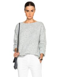 Nili Lotan Gray Ballet Neck Boxy Sweater