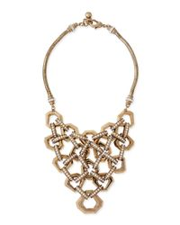 Lulu Frost Metallic Narcissus Crystal Bib Necklace