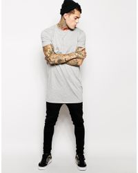 ASOS Gray Super Longline T-shirt With Relaxed Skater Fit for men