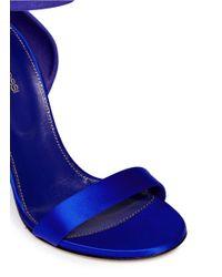 Sergio Rossi Blue Metal Heel Suede Satin Sandals