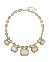 Mikey White Rectangle Enamels Chain Linked Necklace