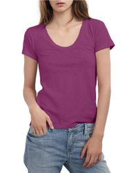 Velvet By Graham & Spencer | Purple Scoopneck Cotton Tee | Lyst