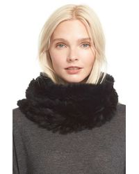 Vince Black Genuine Rabbit Fur Infinity Scarf