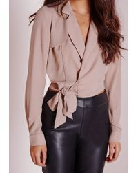 Missguided - Pink Wrap Over Tie Blouse Taupe - Lyst