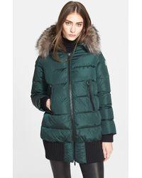 Moncler Green 'anglas' Genuine Fur Trim Down Parka