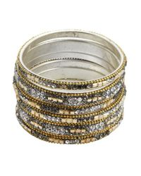 Chamak by Priya Kakkar | Metallic Set Of 6 - Gold And Grey Jeweled Bangles | Lyst