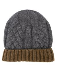 Paul Smith - Gray Cable Knit Beanie for Men - Lyst