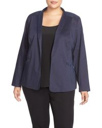 Eileen Fisher Blue Shawl Collar Jacket