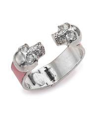 Alexander McQueen - Metallic Leather-Inset Double Skull Cuff Bracelet/Silvertone - Lyst