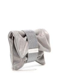 Jimmy Choo - Metallic Chandra Embellished Suede Clutch - Lyst