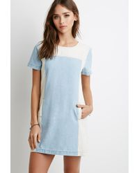 50876f5e7b Forever 21. Women s Blue Contrast-paneled Chambray Dress You ve Been Added  To The Waitlist