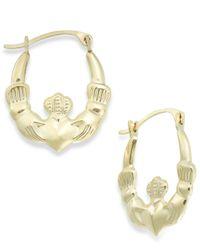 Macy's | Metallic Claddagh Hoop Earrings In 10k Gold, 16mm | Lyst